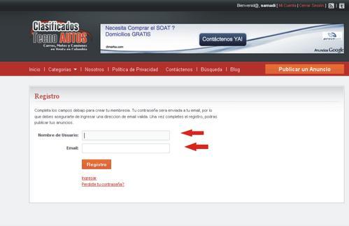 Registro de Clasificados carros usados